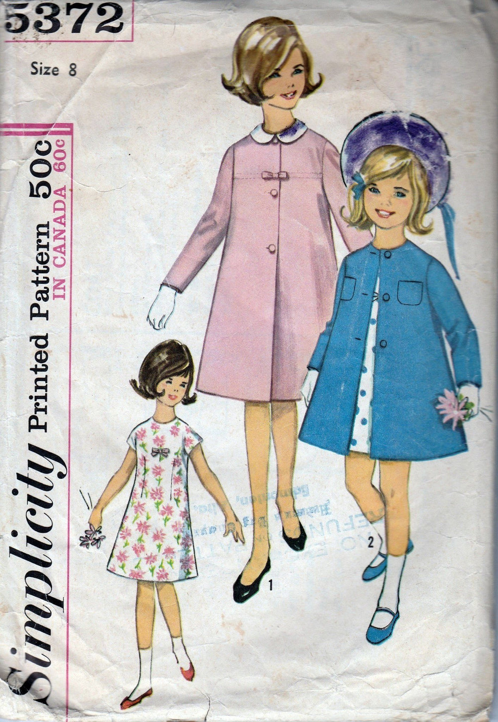 Simplicity 5372 Vintage 1960's Sewing Pattern Girls A-Line Dress Front Button Coat Detachable Collar - VintageStitching - Vintage Sewing Patterns
