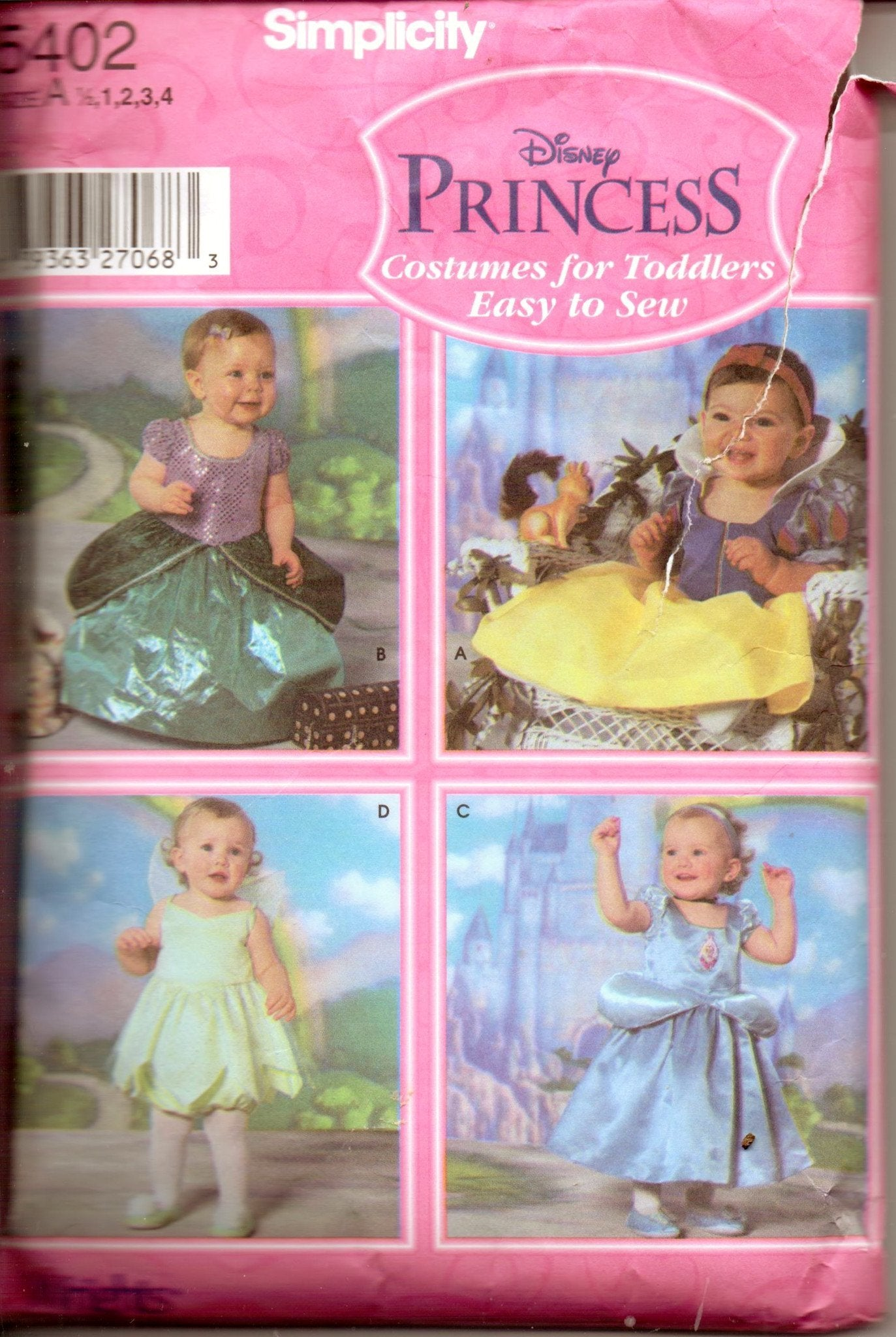 Simplicity 5402 Toddler Disney Princess Halloween Costume Pattern Tinkerbell Snow White - VintageStitching - Vintage Sewing Patterns