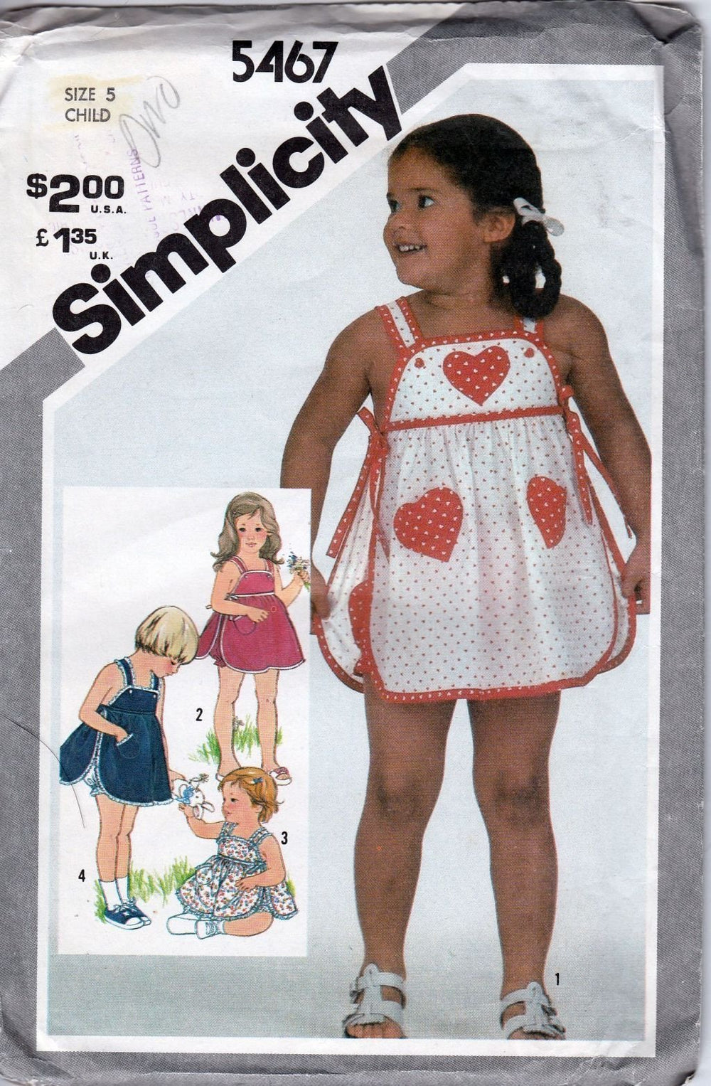 Simplicity 5467 Vintage 80's Pattern Little Girls Sundress Panties Empire Waist - VintageStitching - Vintage Sewing Patterns
