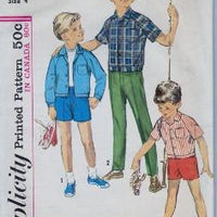 Simplicity 5481 Boys Shirt Jacket Pants Shorts Vintage 60's Sewing Pattern - VintageStitching - Vintage Sewing Patterns