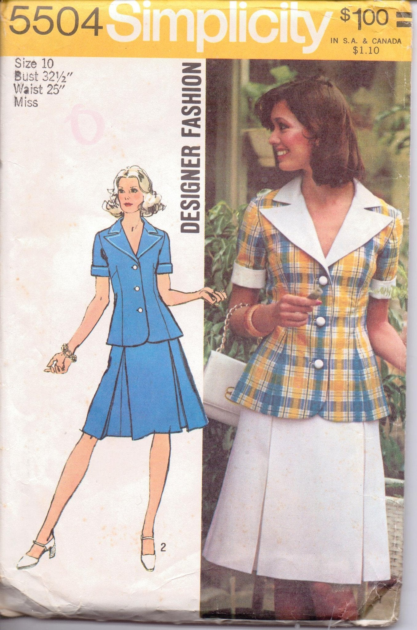 Simplicity 5504 Ladies Two Piece Dress Top Skirt Vintage 1970's Sewing Pattern Size 10 Bust 32 - VintageStitching - Vintage Sewing Patterns