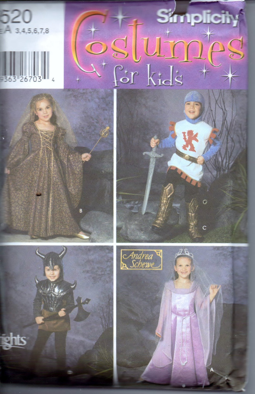Simplicity 5520 Childrens Halloween Costume Pattern Medieval Princess Knight Renaissance Boys Girls - VintageStitching - Vintage Sewing Patterns