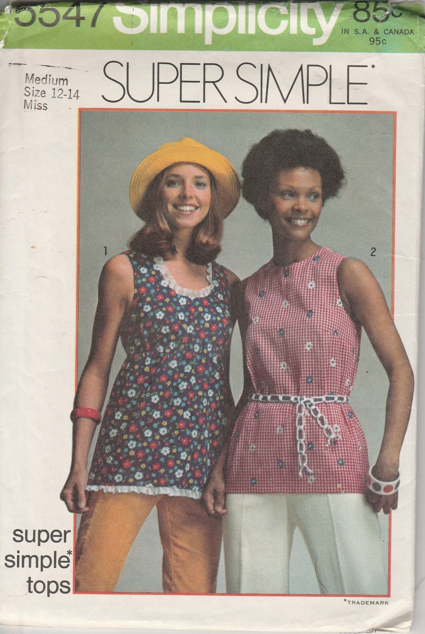 Simplicity 5547 Vintage Sewing Pattern 1970's Ladies Sleeveless Tops Super Simple - VintageStitching - Vintage Sewing Patterns