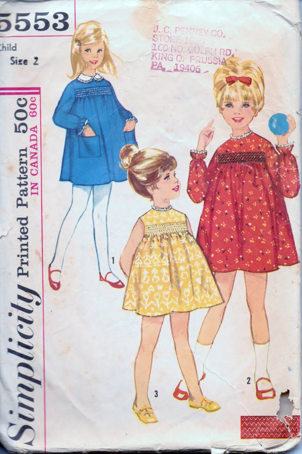 Simplicity 5553 Little Girls Toddler One Piece Dress Detachable Collar Vintage 1960's Sewing Pattern - VintageStitching - Vintage Sewing Patterns
