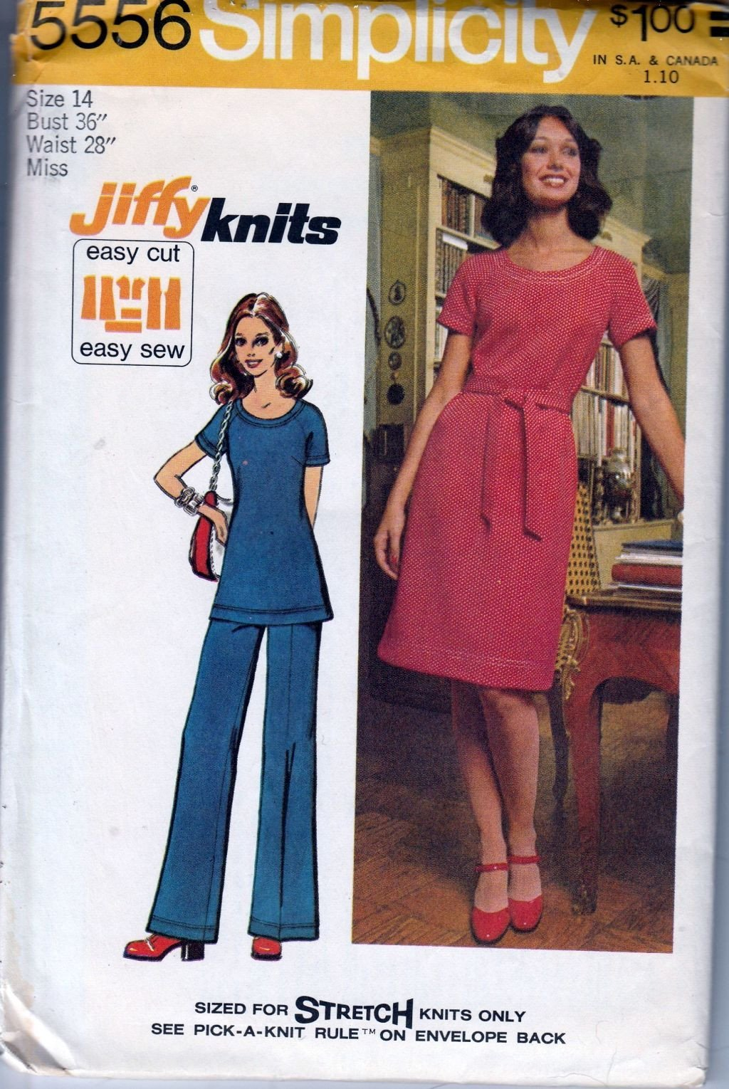 Simplicity 5556 Vintage 1970's Sewing Pattern Ladies Dress Top Pants Jiffy Knits - VintageStitching - Vintage Sewing Patterns