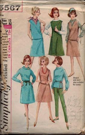 Simplicity 5567 Ladies Jumper Dress Blouse Skirt Weskit Vintage Pattern - VintageStitching - Vintage Sewing Patterns