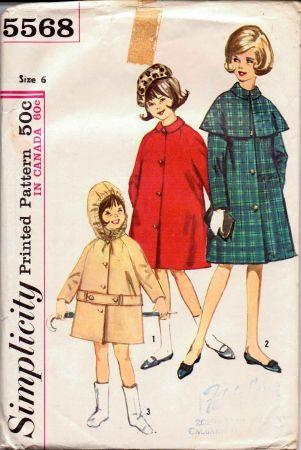 Simplicity 5568 Little Girls Coat Cape Vintage 1960's Sewing Pattern - VintageStitching - Vintage Sewing Patterns
