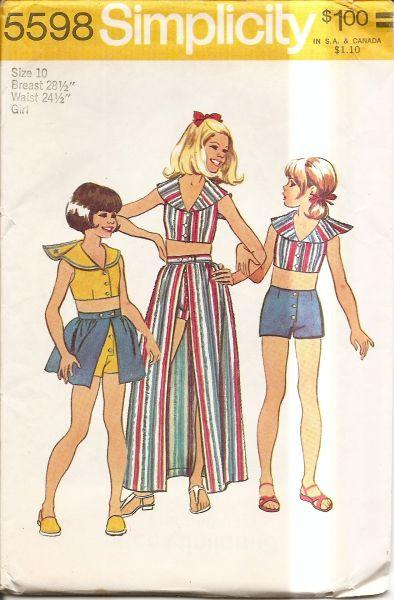 Simplicity 5598 Vintage 1970's Sewing Pattern Girls Top Skirt & Short - VintageStitching - Vintage Sewing Patterns