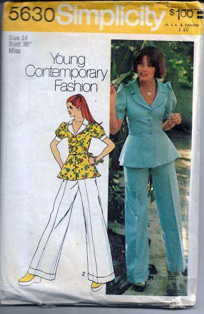 Simplicity 5630 Vintage Sewing Pattern 1970s Ladies Jacket Bell Bottom Pants - VintageStitching - Vintage Sewing Patterns