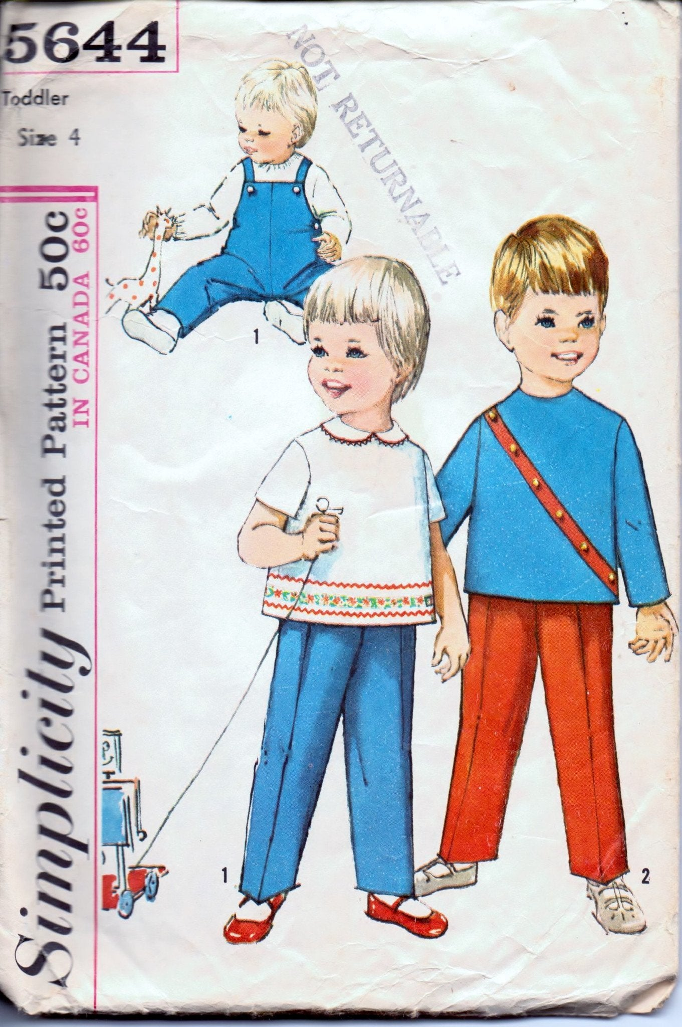 Simplicity 5644 Toddlers' Overalls and Top Vintage 1960's Sewing Pattern - VintageStitching - Vintage Sewing Patterns