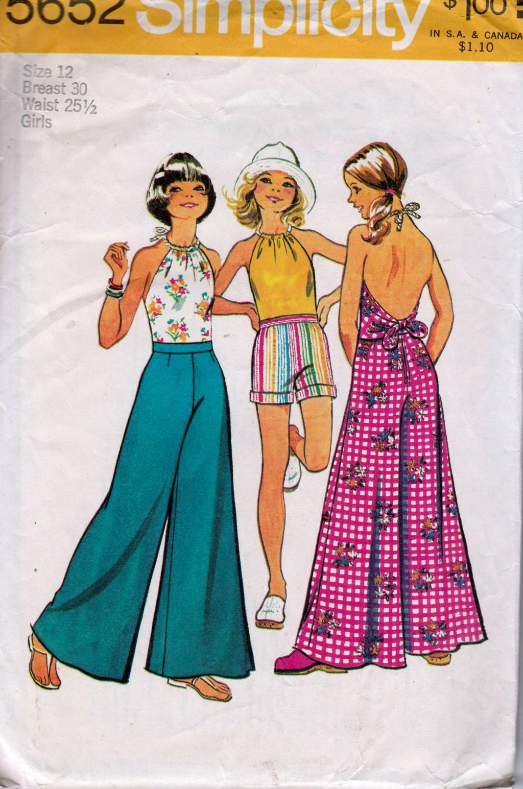 Simplicity 5652 Girls Halter Top Bell Bottom Pants Shorts Vintage 1970's Sewing Pattern - VintageStitching - Vintage Sewing Patterns