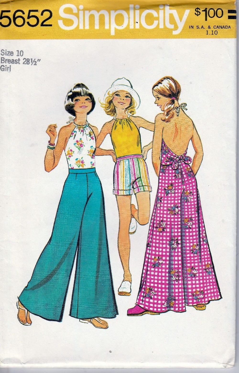 Simplicity 5652 Vintage 1970's Sewing Pattern Girls Pants Halter Top Shorts - VintageStitching - Vintage Sewing Patterns