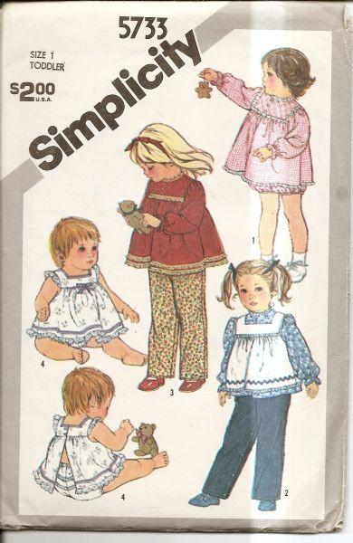 Simplicity 5733 Vintage 80's Sewing PatternToddler Sundress Panties Pinafore - VintageStitching - Vintage Sewing Patterns