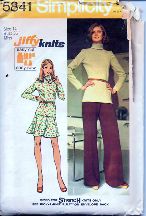 Simplicity 5841 Ladies Top Skirt Pants Vintage 1970's Sewing Pattern Jiffy Size 14 Bust 36 - VintageStitching - Vintage Sewing Patterns