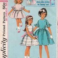 Simplicity 5859 Vintage Sewing Pattern 1960's Little Girls Full Skirt Dress Pleats Doll - VintageStitching - Vintage Sewing Patterns