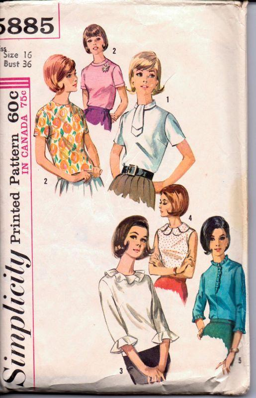 Simplicity 5885 Vintage 1960's Sewing Pattern Ladies Blouse Back Buttoned Ruffle Trim Long Short Sleeves Sleeveless - VintageStitching - Vintage Sewing Patterns