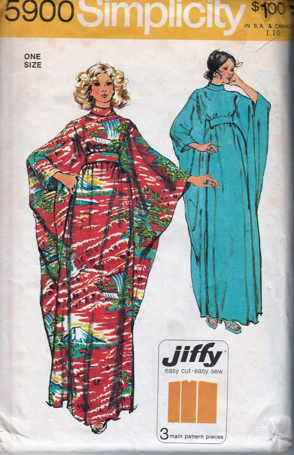 Simplicity 5900 Vintage 70's Sewing Pattern Jiffy Hippy Caftan Dress Robe - VintageStitching - Vintage Sewing Patterns
