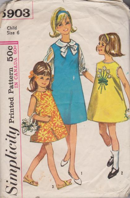 Simplicity 5903 Girls One Piece Jumper Dress Blouse Vintage Pattern - VintageStitching - Vintage Sewing Patterns