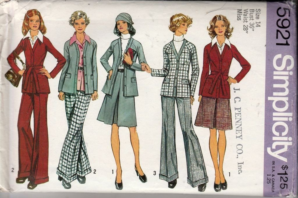Simplicity 5921 Vintage 1970's Sewing Pattern Ladies Cardigan Pants Skirt Raglan Sleeves - VintageStitching - Vintage Sewing Patterns