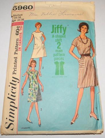 Simplicity 5960 Vintage 1960's Sewing Pattern One-Piece Dress Jiffy - VintageStitching - Vintage Sewing Patterns