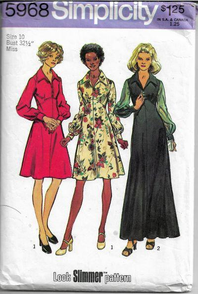 Simplicity 5968 Vintage Sewing Pattern 1970s Ladies Dress Gown Empire Waist - VintageStitching - Vintage Sewing Patterns