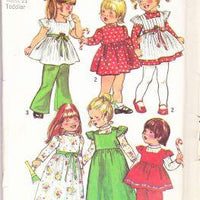 Simplicity 5993 Vintage Pattern Toddlers Dress Smock Bell Bottom Pants - VintageStitching - Vintage Sewing Patterns