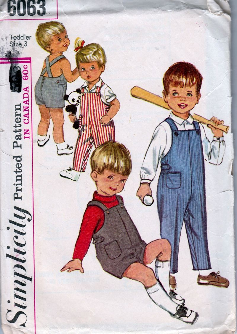 Simplicity 6063 Toddlers Overalls Shorts Shirt Vintage 1960's Sewing Pattern - VintageStitching - Vintage Sewing Patterns
