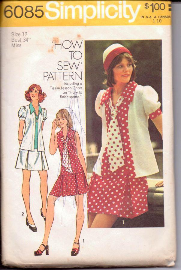 Simplicity 6085 Ladies Sailor Suit Dress Jacket Vintage 1970's Sewing Pattern - VintageStitching - Vintage Sewing Patterns