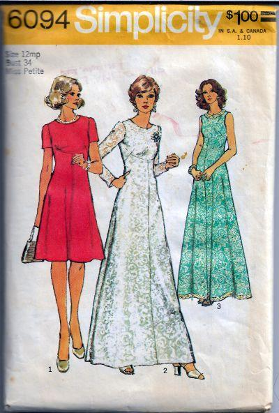 Simplicity 6094 Miss Petite Dress Gown Vintage Sewing Pattern 1970s - VintageStitching - Vintage Sewing Patterns