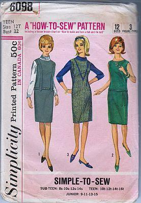 Simplicity 6098 Teen Girl Jumper Dress Vintage 1960's Sewing Pattern - VintageStitching - Vintage Sewing Patterns