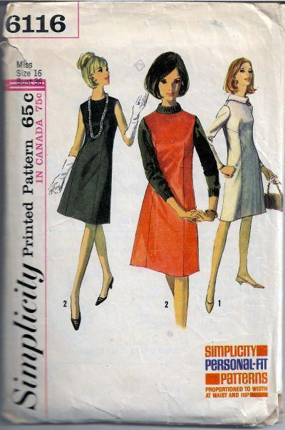 Simplicity 6116 Ladies Jumper Dress Vintage Sewing Pattern 1960s - VintageStitching - Vintage Sewing Patterns