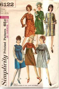 Simplicity 6122 Vintage Sewing Pattern Misses Junior Dress Empire Waist - VintageStitching - Vintage Sewing Patterns