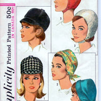 Simplicity 6191 Ladies Set of Hats Vintage 1960's Sewing Pattern - VintageStitching - Vintage Sewing Patterns