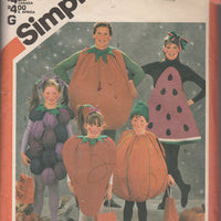 Simplicity 6192 Childrens Fruit Vegetable Halloween Costume 'Vintage Sewing Pattern 1980's - VintageStitching - Vintage Sewing Patterns