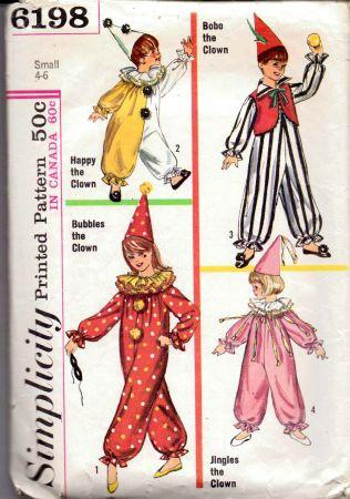 Simplicity 6198 Childs Clown Hat Halloween Costume Pattern Vintage - VintageStitching - Vintage Sewing Patterns