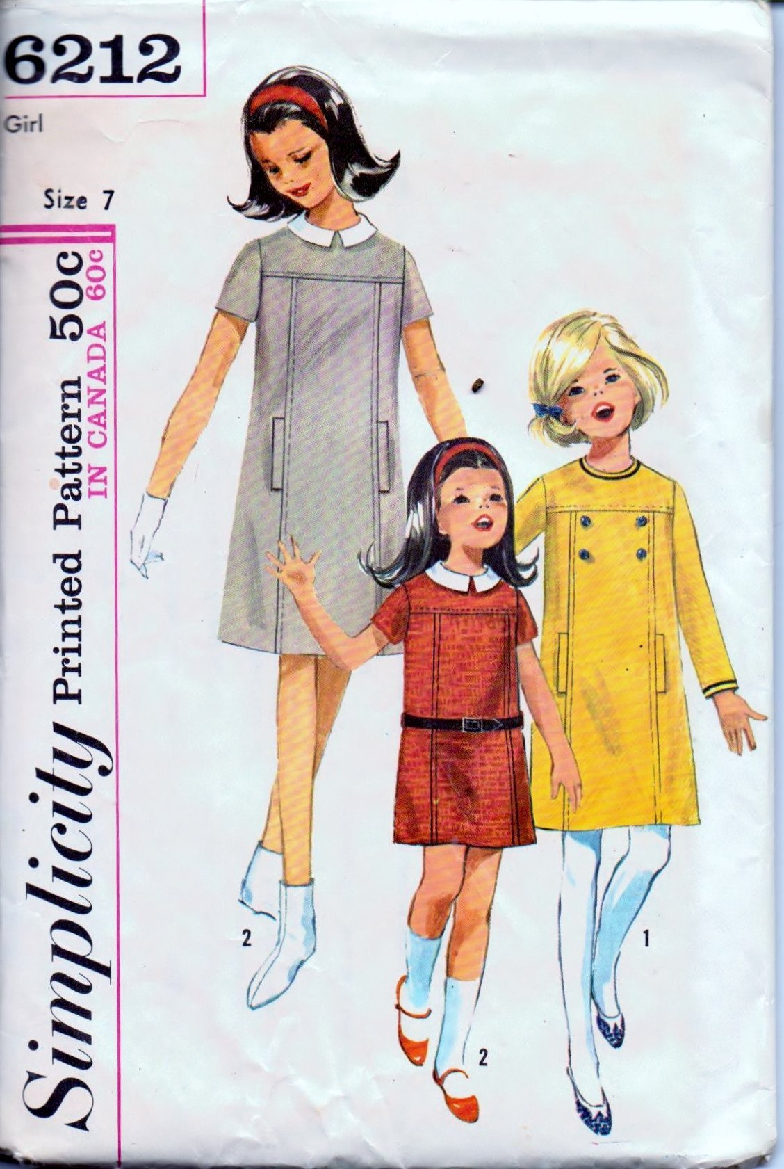 Simplicity 6212 Young Girls One Piece Dress Detachable Collar Vintage 1960's Sewing Pattern - VintageStitching - Vintage Sewing Patterns