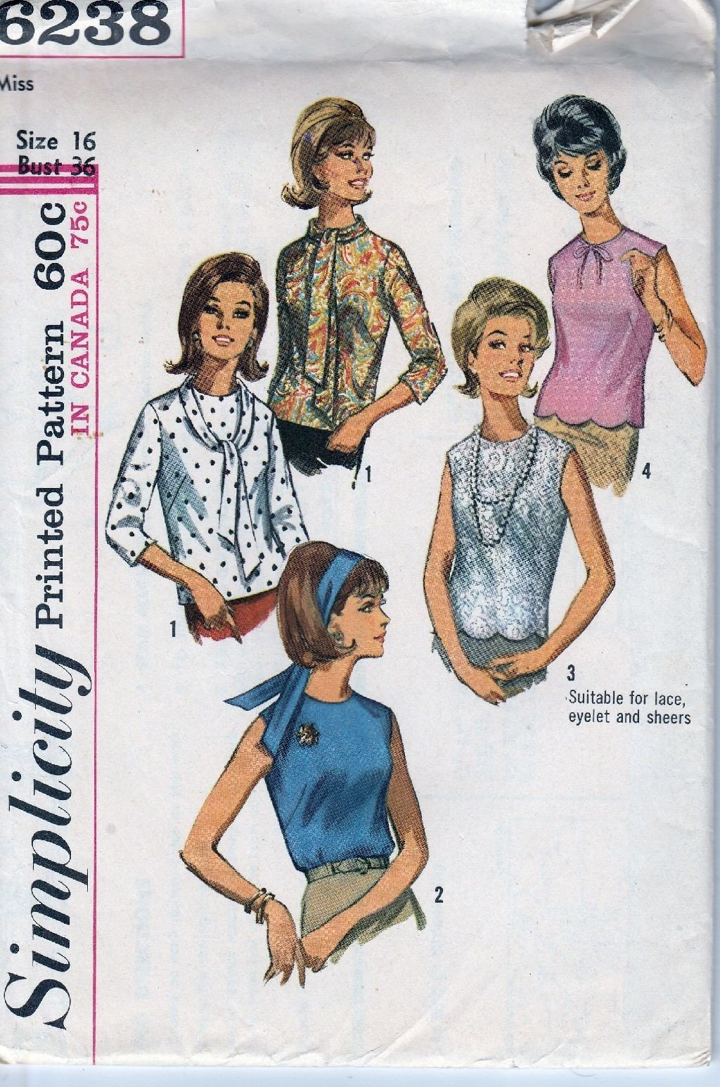 Simplicity 6238 Vintage Sewing Pattern 1960's Ladies Blouse Collarless Back Opening - VintageStitching - Vintage Sewing Patterns