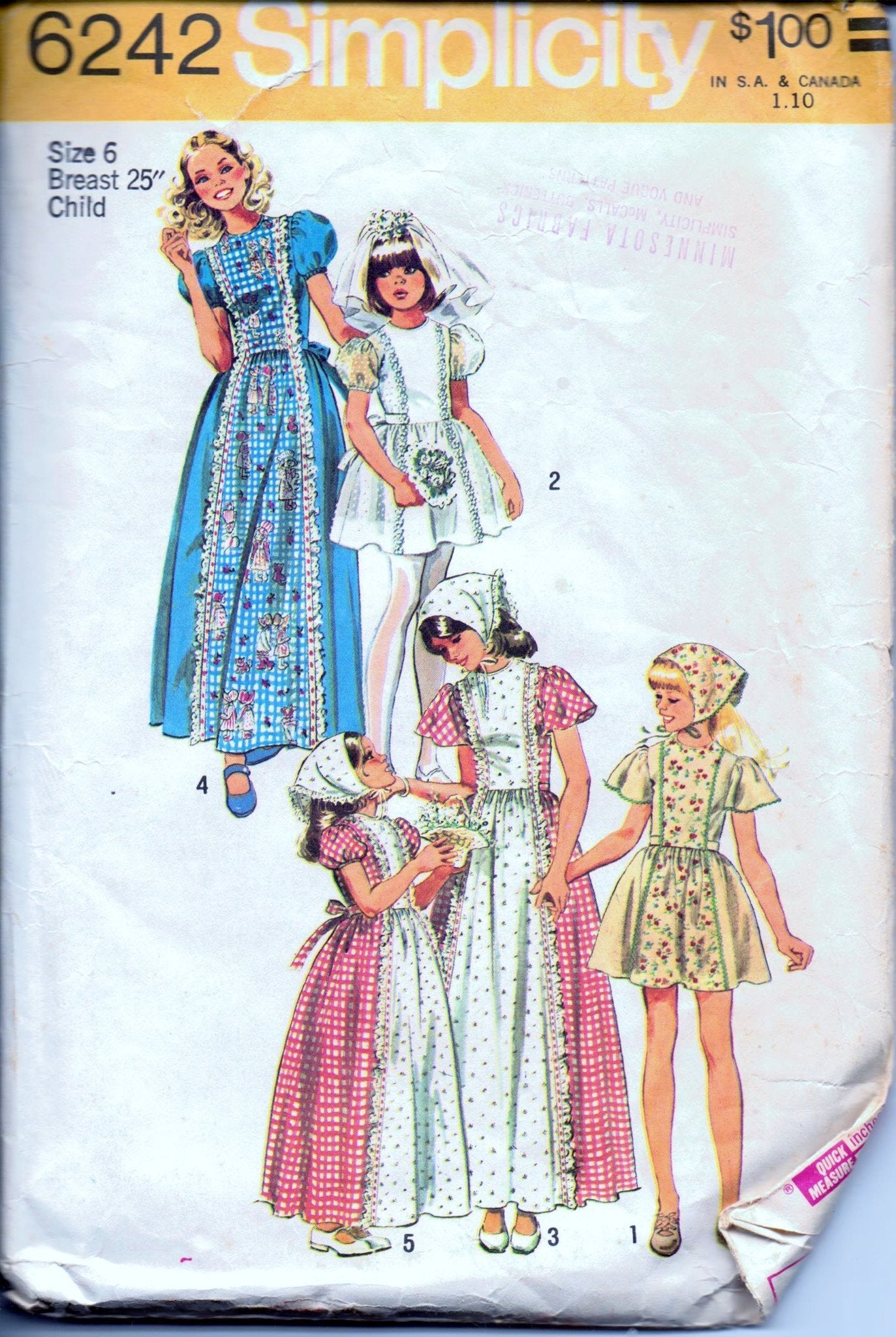 Simplicity 6242 Girls' Long Short Dress First Communion Scarf Vintage 70's Sewing Pattern - VintageStitching - Vintage Sewing Patterns