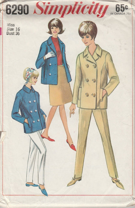 Simplicity 6290 Vintage 60's Sewing Pattern Ladies Two Piece Suit Jacket Pants - VintageStitching - Vintage Sewing Patterns