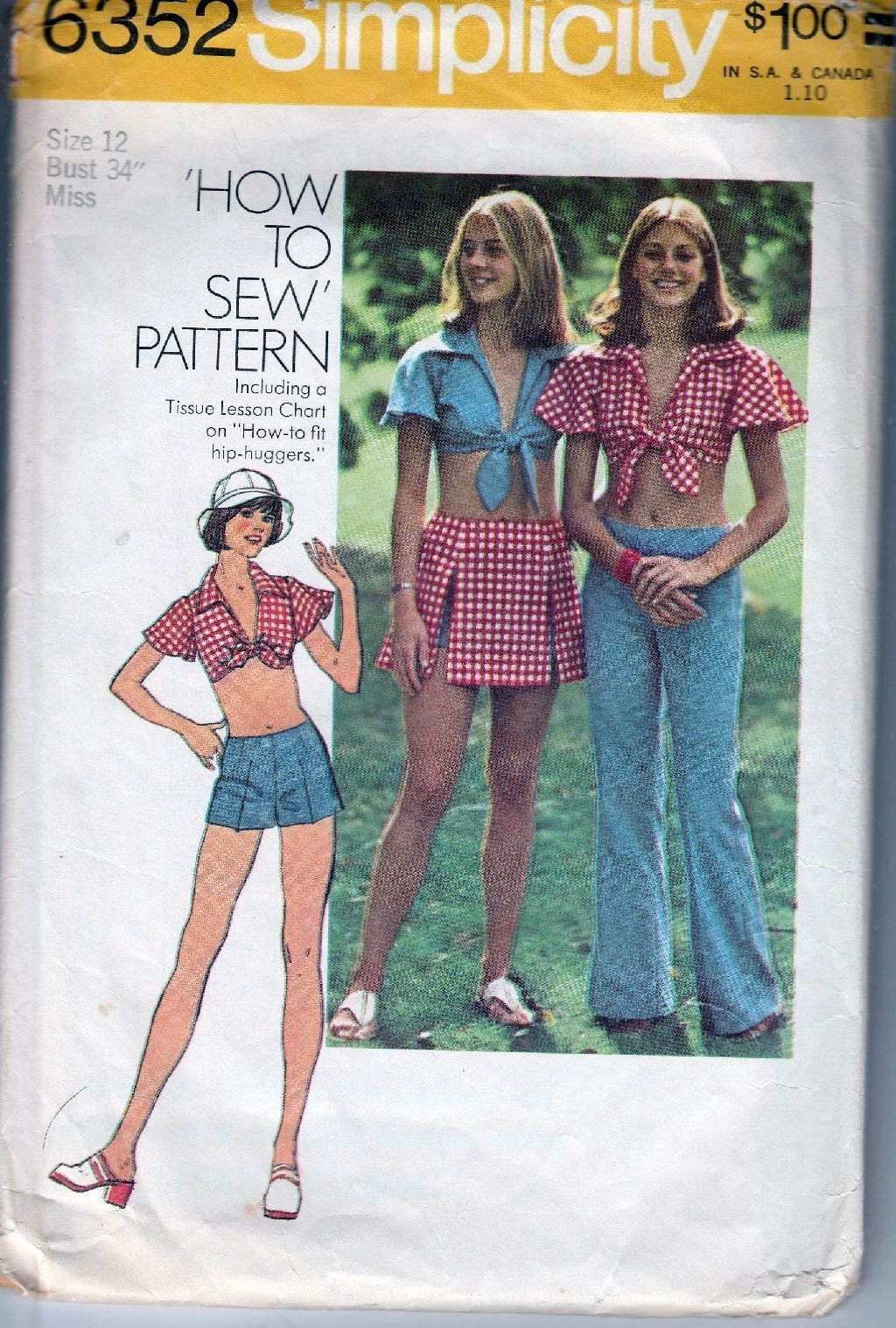Simplicity 6352 Vintage 1970's Sewing Pattern Ladies Hip Hugger Pants Shortie Top Skirt - VintageStitching - Vintage Sewing Patterns