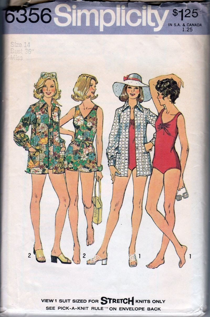 Simplicity 6356 Vintage 1970's Sewing Pattern Ladies Bathing Suit Swim Cover Up - VintageStitching - Vintage Sewing Patterns
