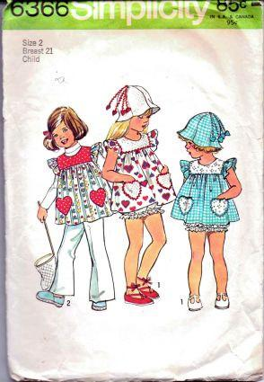 Simplicity 6366 Toddler Summer Top Panties Vintage 1970's Sewing Pattern - VintageStitching - Vintage Sewing Patterns