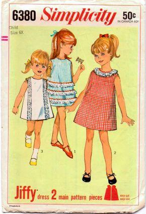 Simplicity 6380 Girls Jiffy One-Piece Dress Vintage 60's Sewing Pattern - VintageStitching - Vintage Sewing Patterns