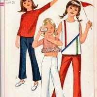 Simplicity 6472 Little Girls Top Pants Vintage 1960's Pattern - VintageStitching - Vintage Sewing Patterns