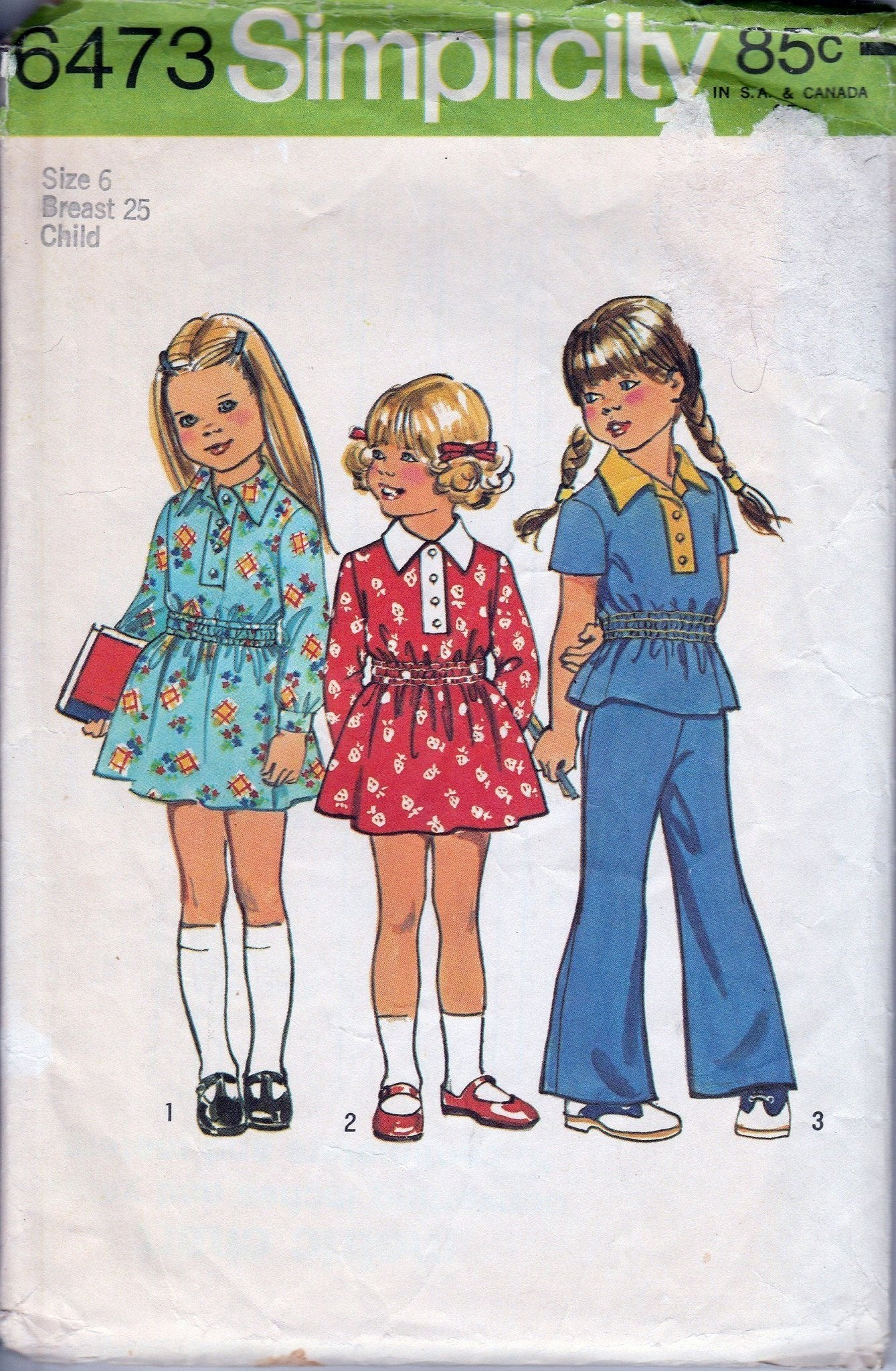 Simplicity 6473 Vintage 1960's Sewing Pattern Little Girls Play Dress Bell Bottom Pants - VintageStitching - Vintage Sewing Patterns