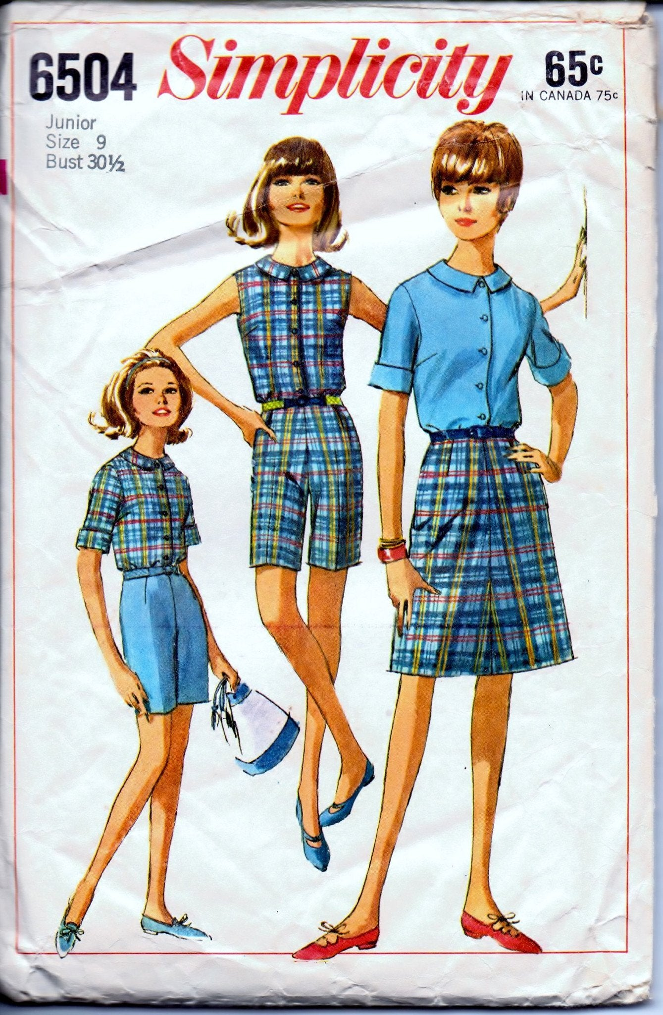 Simplicity 6504 Junior Blouse Skirt Bermuda Shorts Vintage 1960's Sewing Pattern - VintageStitching - Vintage Sewing Patterns