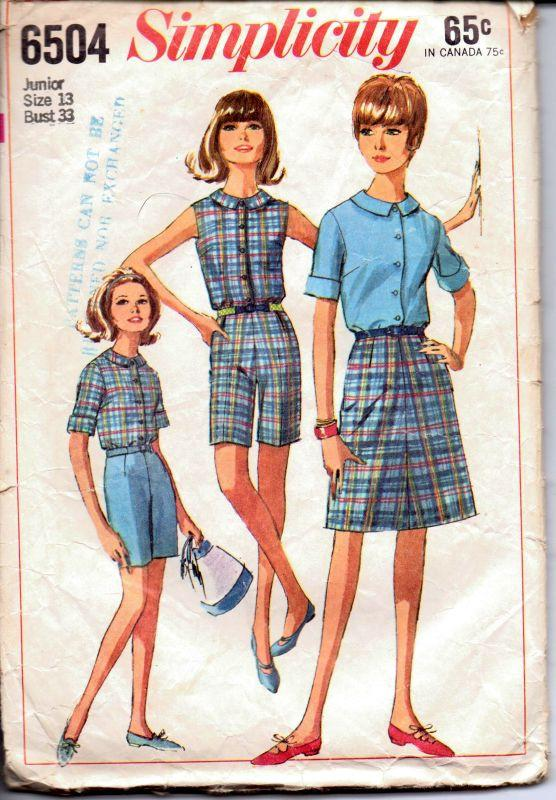 Simplicity 6504 Vintage 1960's Sewing Pattern Junior Ladies Sleeveless Blouse Skirt Bermuda Shorts - VintageStitching - Vintage Sewing Patterns