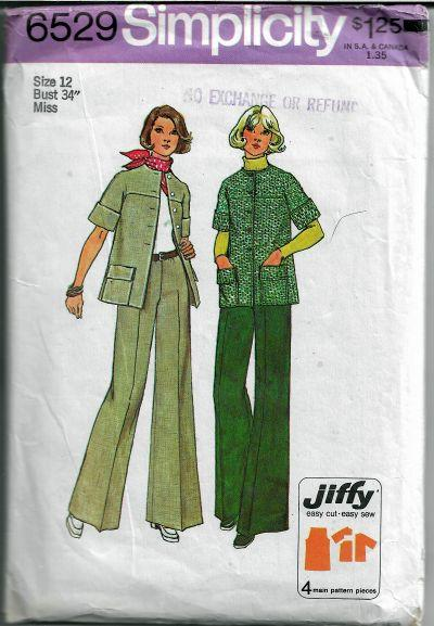 Simplicity 6529 Ladies Jiffy Jacket Pants Vintage Sewing Pattern 1970s - VintageStitching - Vintage Sewing Patterns
