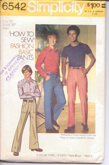 Simplicity 6542 Men's Pants Vintage 1970's Sewing Pattern - VintageStitching - Vintage Sewing Patterns