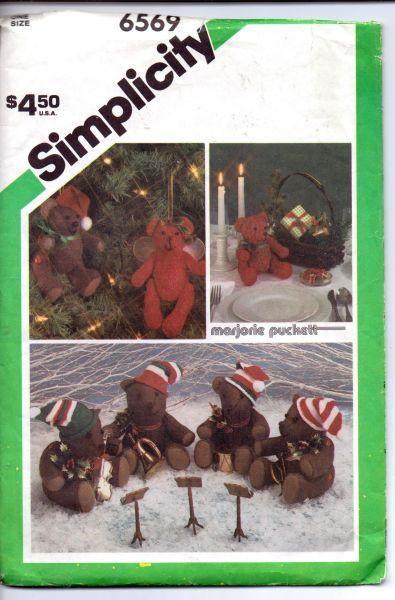 Simplicity 6569 Stuffed Christmas Bears Vintage Sewing Craft Pattern - VintageStitching - Vintage Sewing Patterns